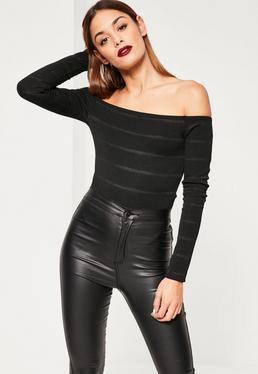 Black Bardot Sheen Stripe Bodysuit