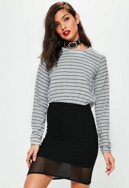 Grey Striped Gathered Hem Crop Top