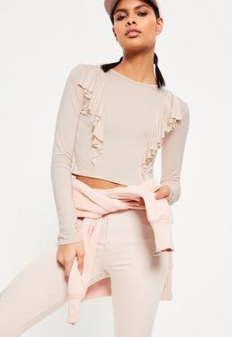 Cream Front Frill Crop Top