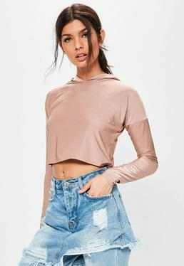 Nude slinky hooded crop top