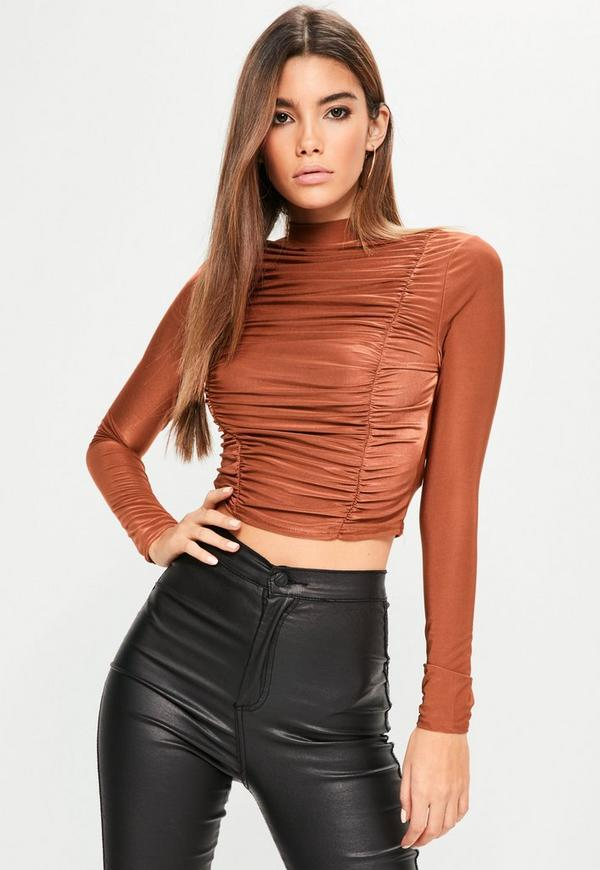 Bronze Ruched High Neck Top