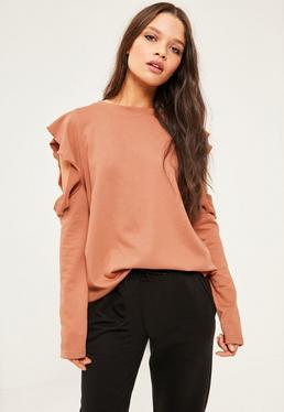 Brown Frill Detail Cold Shoulder Sweatshirt