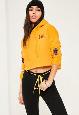 Yellow Badge Detail Cropped Hoodie