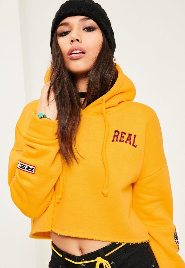 Yellow Badge Detail Cropped Hoodie Missguided