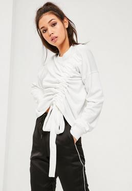 Cream Asymmetric Gathered Sweatshirt