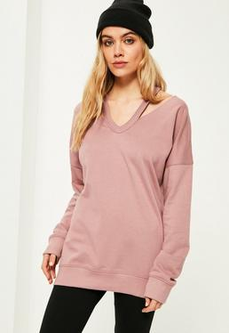 Pink Oversized Cut Out Neck Sweatshirt
