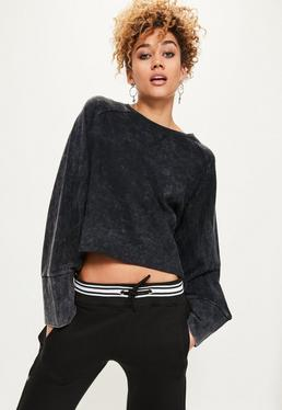 Black Washed Wide Sleeve Sweatshirt