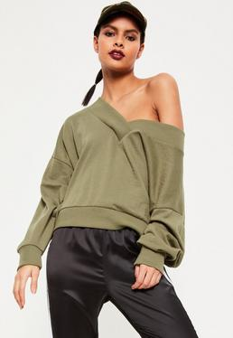 Khaki V Neck Off The Shoulder Sweatshirt