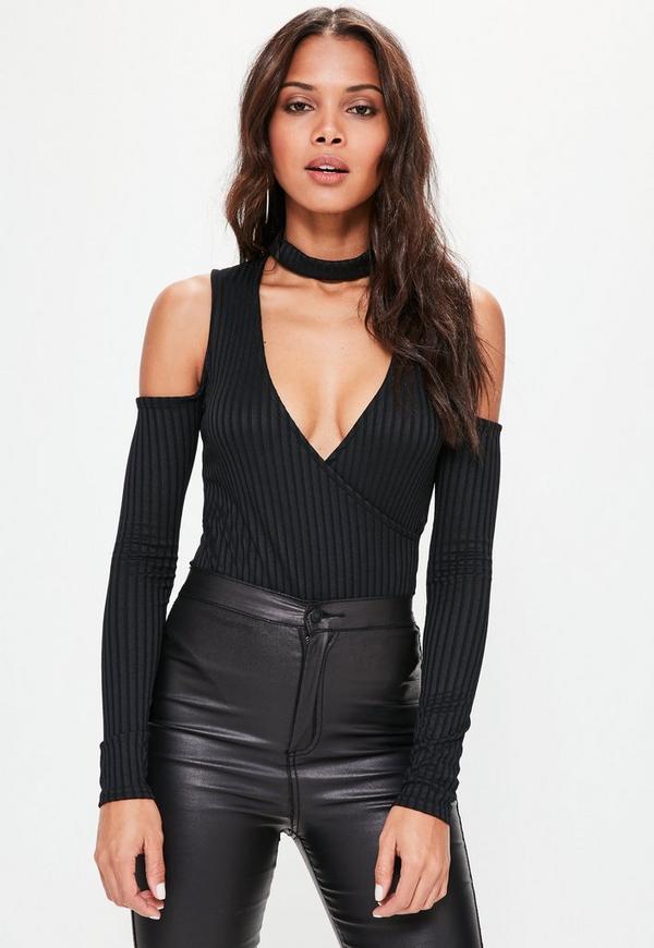 Black Ribbed Choker Cold Shoulder Wrap Bodysuit