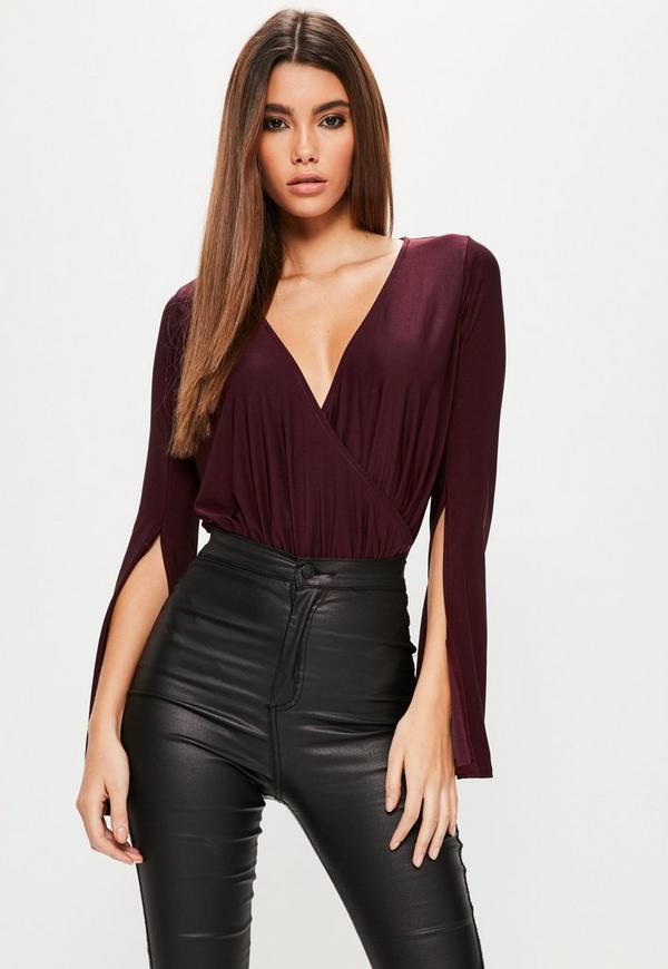 Purple Wrap Front Split Sleeve Bodysuit