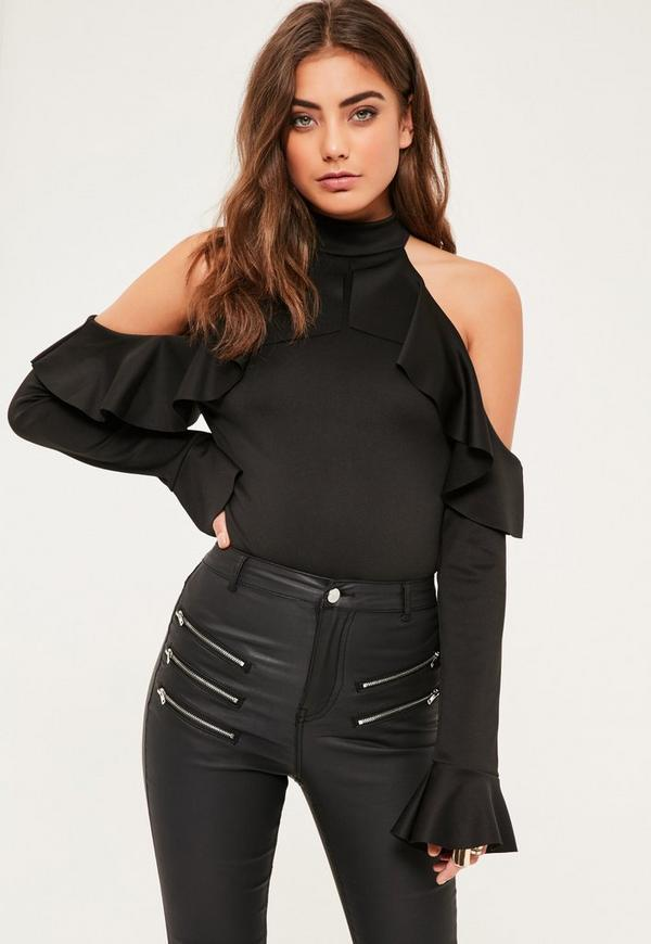 Black Frill detail cold shoulder bodysuit