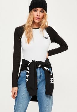 White Contrast Raglan Sleeve Badge Detail Bodysuit