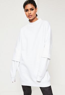 White Double Layered Sleeve Oversized Sweatshirt