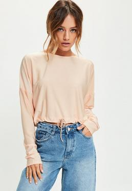 Pink Gathered Hem Crop Top