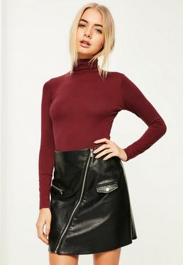 Burgundy roll neck long sleeve bodysuit