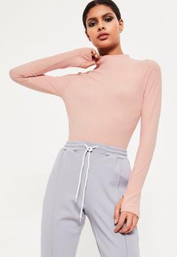 Pink High Neck Jumbo Ribbed Bodysuit