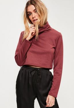 Purple Roll Neck Cropped Sweatshirt