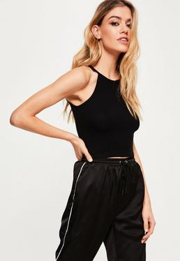 black ribbed high neck crop top