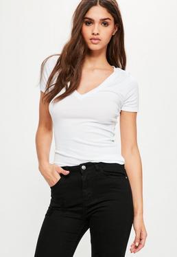 White Ribbed V Neck T Shirt