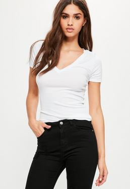 White Ribbed V Neck T Shirt
