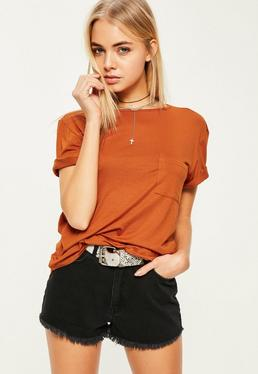brown basic one pocket t shirt