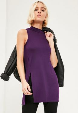 Purple Split Front Sleeveless Tunic