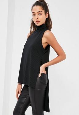 Black Split Side Roll Neck Tunic