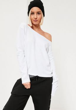 White Raw Edge Off The Shoulder Sweatshirt