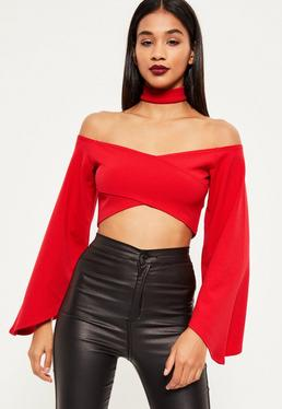Red Flared Sleeve Choker Neck Crop Top