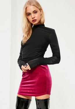 Black Ruched Sleeve Crop Top