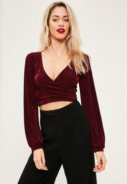 Burgundy slinky drape wrap front crop top