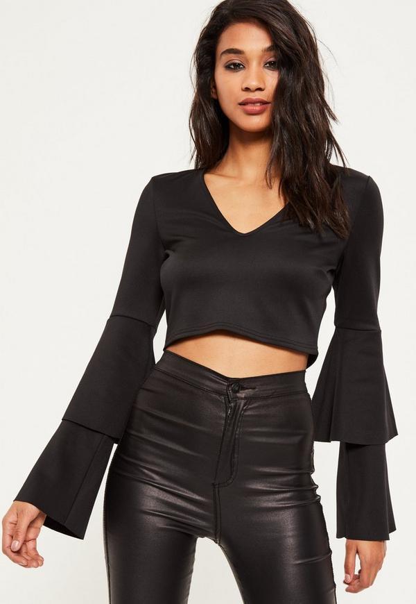 Black Layered frill sleeve crop top