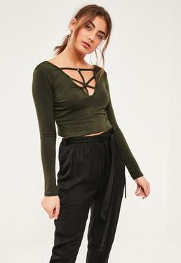 Khaki Harness Front Long Sleeve Crop Top