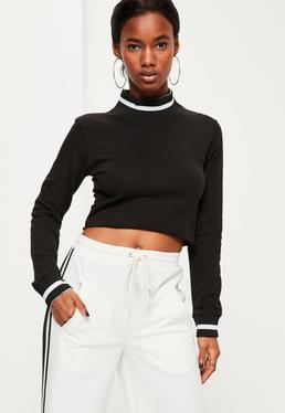 Black Contrast Rib Long Sleeve Crop Top