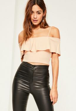 Nude Frill Front Crop Top