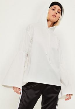 White Gathered Flare Sleeve Hoodie