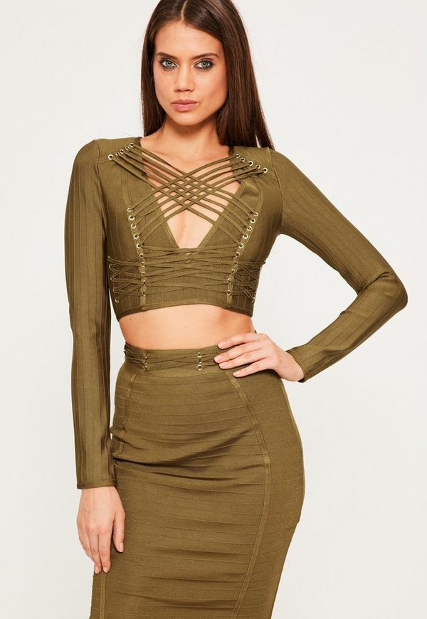 Green Criss Cross Strap Bandage Crop Top