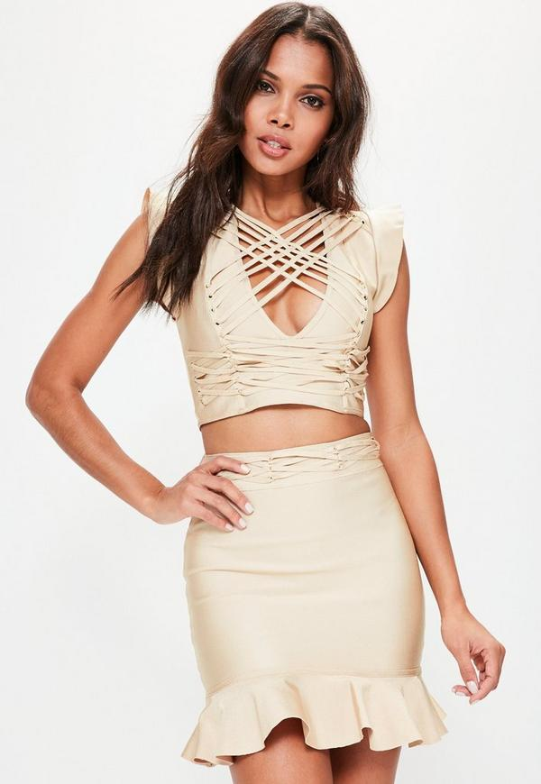 Camel Frill Sleeve Criss Cross Bandage Crop Top