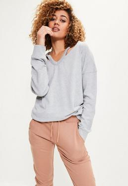Grey Oversized Washed Cut Out Neck Sweater