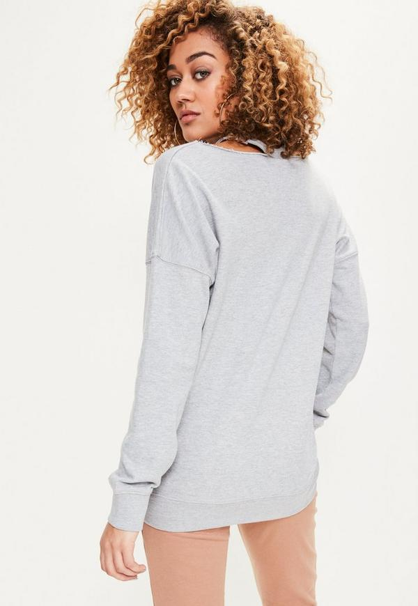 oversize pullover mit cut outs am hals in grau missguided. Black Bedroom Furniture Sets. Home Design Ideas
