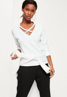 White Cross Front Sweatshirt