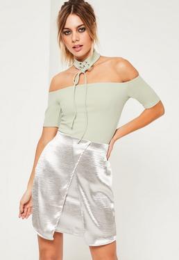 Green Lace Up Choker Bardot Bodysuit