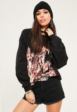 Black Fire Lion Graphic Sweatshirt