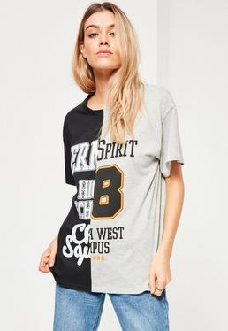 Gespleißtes College T-Shirt in Schwarz und Grau