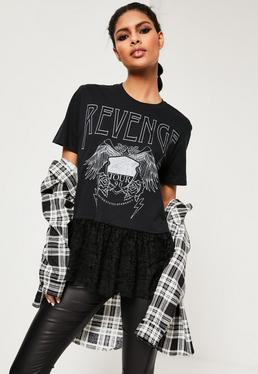 T-shirt noir imprimé Revenge avec dentelle