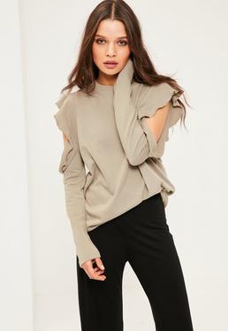 Green Frill Detail Cold Shoulder Sweatshirt