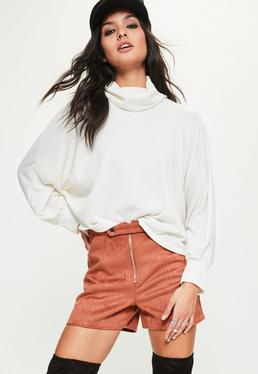 White Roll Neck Batwing Sweatshirt