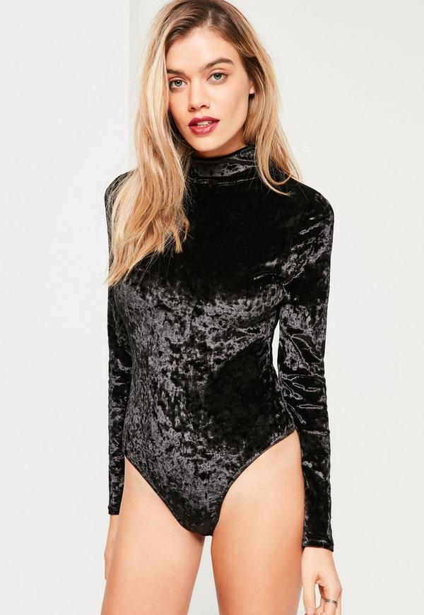 Black Velvet High Neck Bodysuit