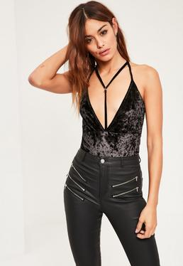 Black Harness Velvet Bodysuit