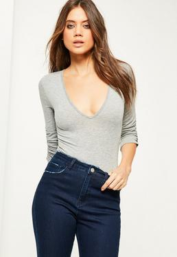 Grey Ruched Cut Off Sleeve Bodysuit